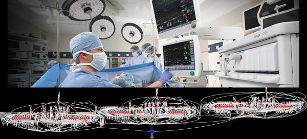 """A realistic hospital environment includes thousands of patients and hundreds of thousands of devices. Reliable monitoring technology must find the right patient and guarantee delivery of that patient's data to the right analysis or staff. In the connectivity map above, every red dot is a """"fog routing node"""", responsible for passing the right data up to the next layer."""